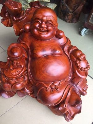 Tượng Di Lạc ngồi gỗ hương đỏ
